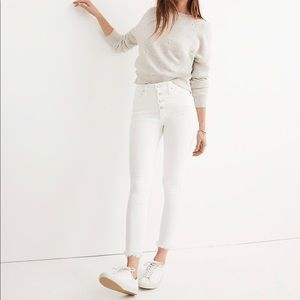 Madewell white high rise skinny crop jeans
